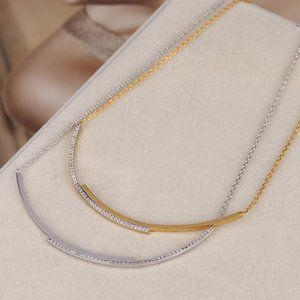 Henri Bendel Curved Necklace with Diamonds